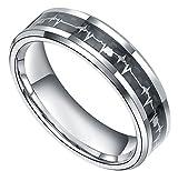 6mm/8mm Titanium Rings Heartbeat Cardiogram Black Carbon Fiber Engagement Wedding Band