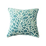 1 Piece Throw Pillow Covers Coastal Cushions 100% Cotton Home Decorative 18 x 18 inch Soft Pillow Case Covers Invisible Zipper Decorative Pillow Case No Pillow Insert Furniture Cushions 02 (1pc-Blue)