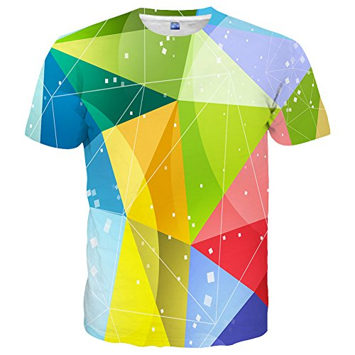 Yasswete Unisex Hipster Top Tees Creative Graphic 3D Printed Short Sleeve Shirts Top Tees Size L (Top Glitter Print)