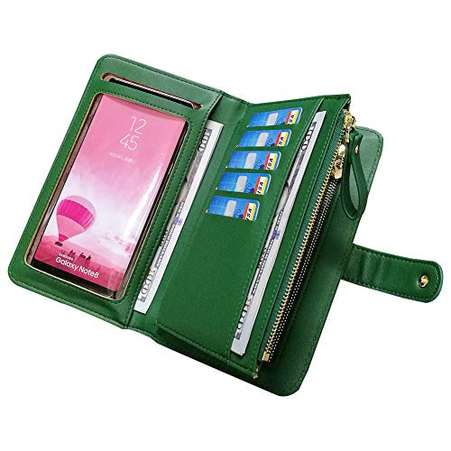 Leather Wallets for Women Aeeque Women's Wallet Purse Touch Screen Phone Bag Large Capacity Zipper Wallet Green Wrist Strap Ladies Clutch Handbag for iPhone Xs Xr 8 7 6s Samsung Galaxy Huawei LG