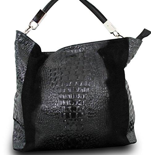 Fabricado en italy Luxus hombro para mujer piel nubuk Alligator Stamp Negro
