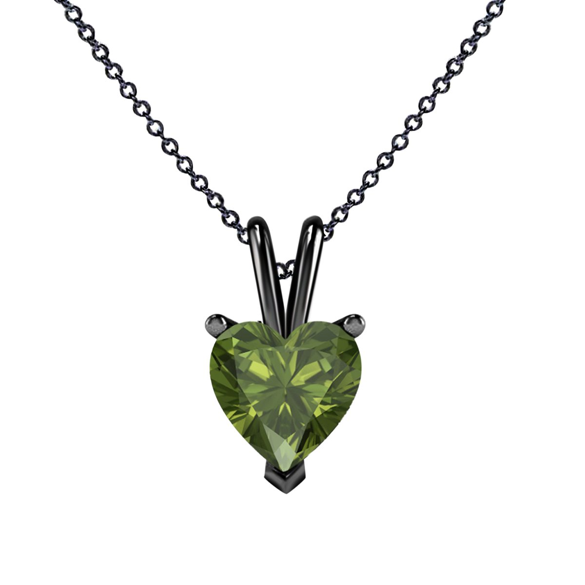Womens Jewelry Set Heart Shape Highest Quality 6MM 6MM Lab Created Green Tourmaline Solitaire Pendant 18 Chain Necklace for Ledis 14K Black Gold Rhodium Plated Alloy