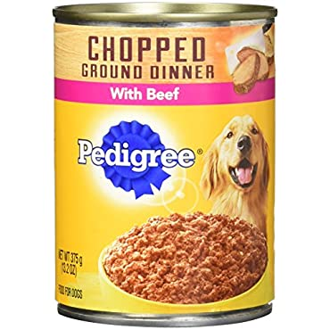 Pedigree Chopped Ground Dinner Dog Food, 13.2 Oz Cans (Variety Pack, 6-Filet Mignon and 6-Beef)