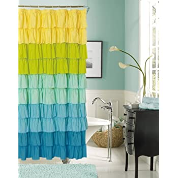 Dainty Home Flamenco Ruffled Shower Curtain, 70 By 72 Inch, Turquise