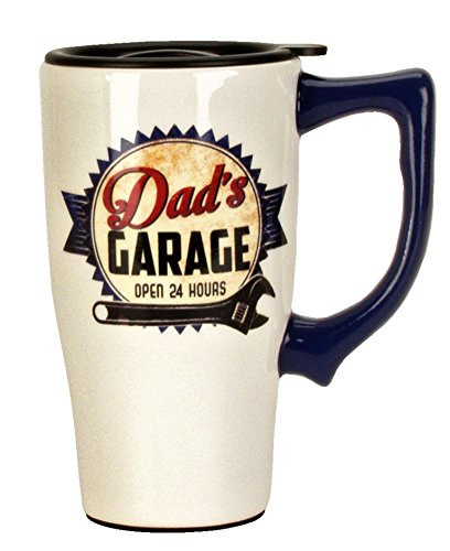 Spoontiques 12758 Dad's Garage Travel Mug, Off-white