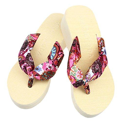 Summer Flops Inkach Heeled Chunky Wedge Flip Sandals Slippers Thong Womens Beige Sandals Platform Ignwn15xAq