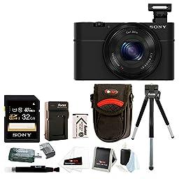 Sony Cyber-shot DSC-RX100 Digital Camera (Black) with 32GB Deluxe Accessory Bundle