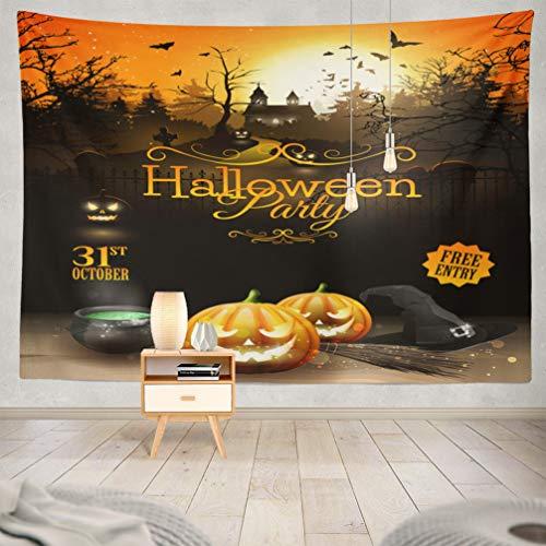 KJONG Halloween-Pumpkin Decorative Tapestry,Halloween Party Flyer with Pumpkins