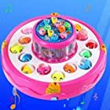 JPOQW Fishing Toy Fishing Game with Magnetic Rods Music Educational Game for Above 3 Years Old Kids Toddlers (Multicolor)