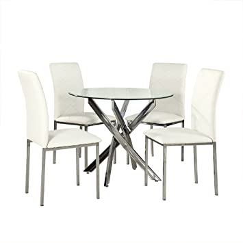 Sleek Round Glass Dining Table Set   INCLUDES 1 Round Glass Table + 4 White  Faux
