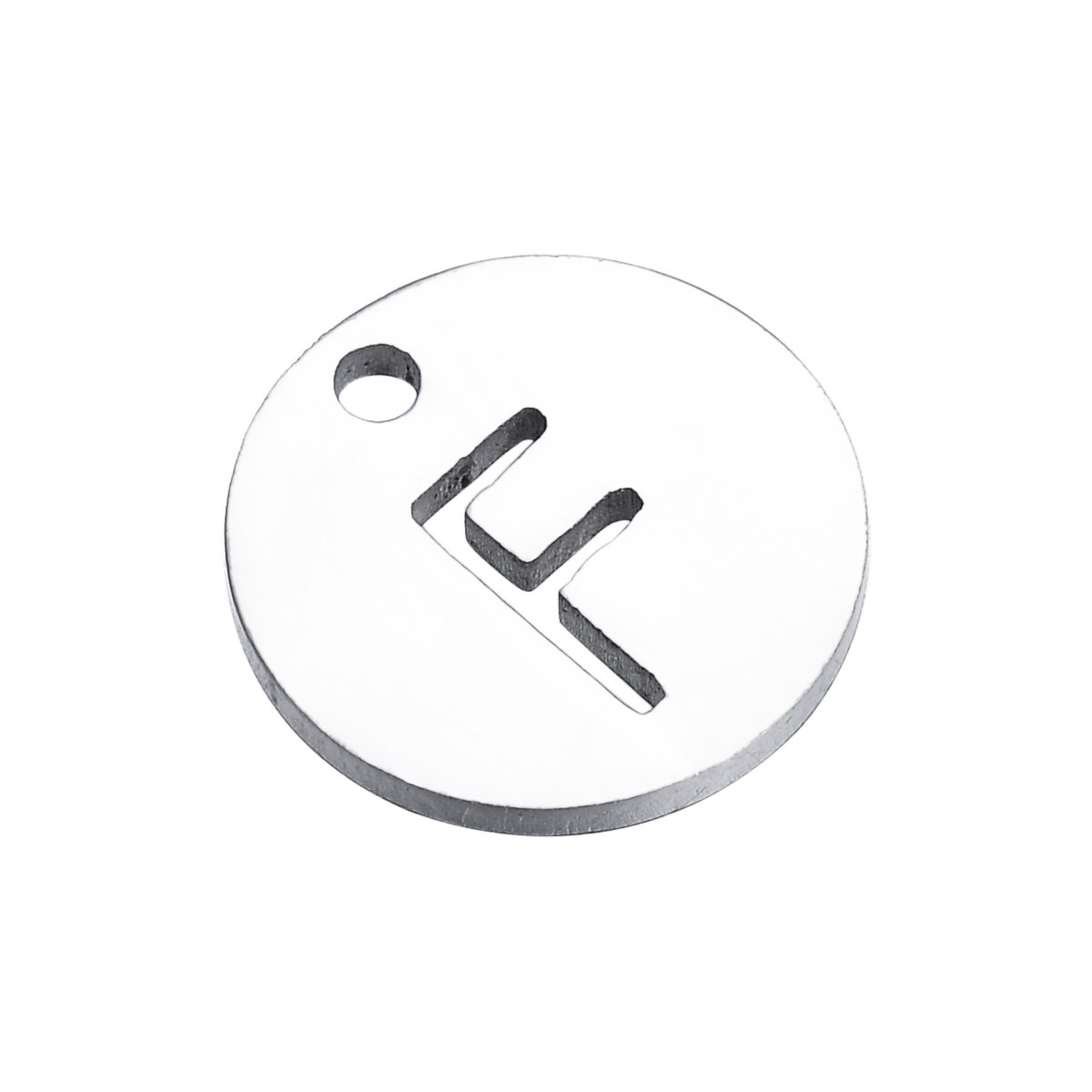 HooAMI 26 Alphabet Letters Silver Tone Round Disc Initial Charms for Bracelet Necklace