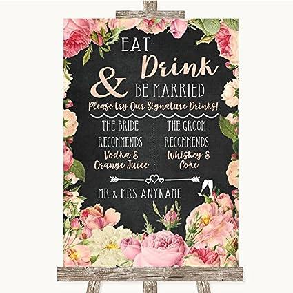 Cartel de boda con diseño de pizarra rosa y rosas Framed ...