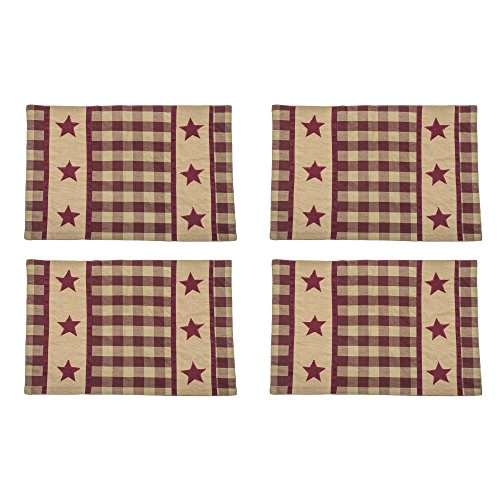 Cranberry Country Star Checker Plaid 13 x 19 All Cotton Placemat Pack of 4