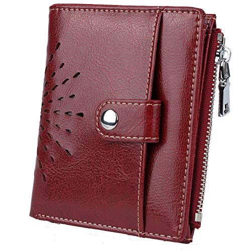 - YALUXE Women's RFID Blocking Security Leather Small Billfold Wallet with Coin Pocket Red