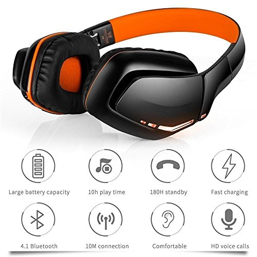 - Weton Wireless Gaming Headset, V4.1 Overhead Headphones with Microphone for iPhone Android Smartphones Computers PS4 Xbox One PC (Orange)
