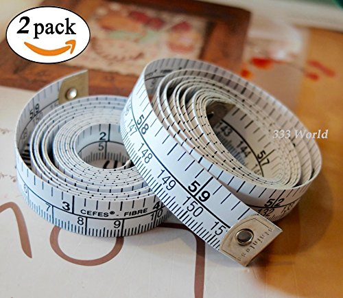 333 World 60 Inch Soft Tape Measure for Sewing Tailor Cloth Ruler Dressmaker, Double-scale Soft Body Weight Loss Medical Body Measurement Flexible Ruler Tape Measure. Made in German. (2 pcs.)