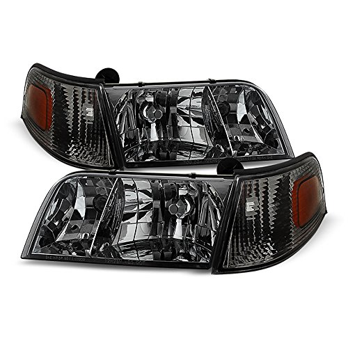 ACANII - For Smoked 1998-2011 Ford Crown Victoria Headlights+Corner Signal Lights Replacement Driver + Passenger Side