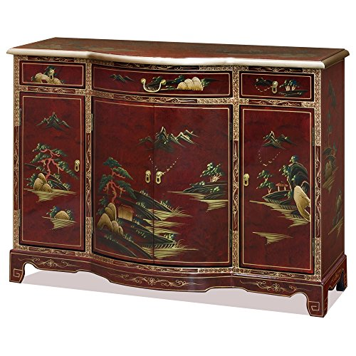 ChinaFurnitureOnline Hallway Console Cabinet with Chinoiserie Landscape on Red Lacquer Finish