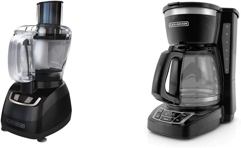 BLACK+DECKER 8-Cup Food Processor, Black, FP1600B & 12-Cup Programmable Coffeemaker, Black, CM1160B
