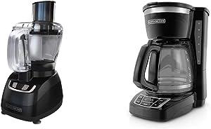 BLACK+DECKER 8-Cup Food Processor, Black, FP1600B & 12-Cup Programmable Coffeemaker, Black, CM1160B