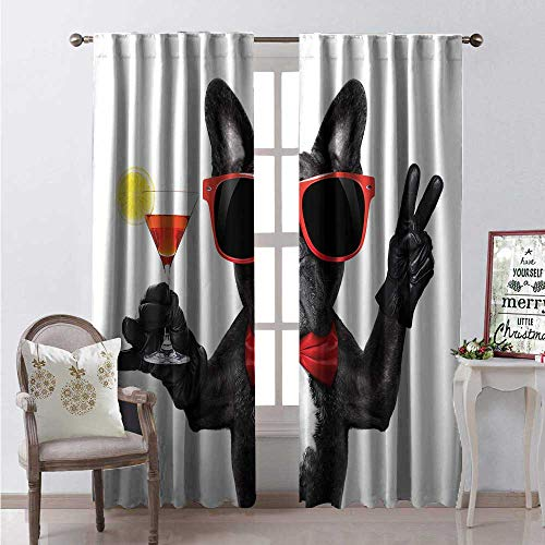 Hengshu Funny Room Darkening Wide Curtains French Bulldog Holding Martini Cocktail Ready for The Party Nightlife Joy Print Decor Curtains by W120 x L108 Black Red White