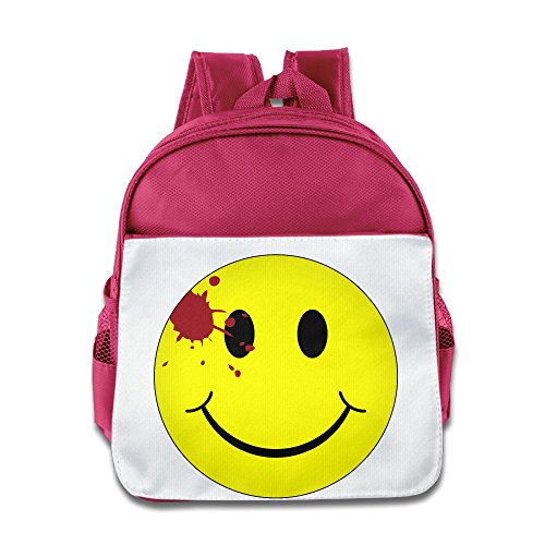 XJBD Custom Superb Watchmen Bloody Smiley Face Teenager School Bagpack Bag For 1-6 Years Old Pink