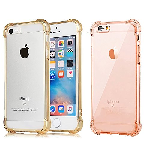 (CaseHQ [2Pack] iPhone 6S Plus Case iPhone 6 Plus Case, Crystal Clear Enhanced Grip Protective Defender cover Soft TPU Shell Shock-Absorption Bumper Anti-Scratch Air Cushioned 4 Corners grey+pink)