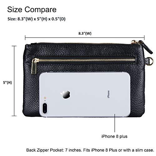 Befen Women Genuine Leather Clutch Wallet, Smartphone Wristlet Purse - Black by befen (Image #2)