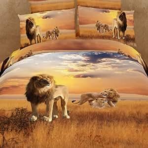 Lion Animal Print 3d Oil Painting Duvet Cover Set Luxury Queen Comforter Cartoon Bedding Cotton Bed Sheets 4Pcs