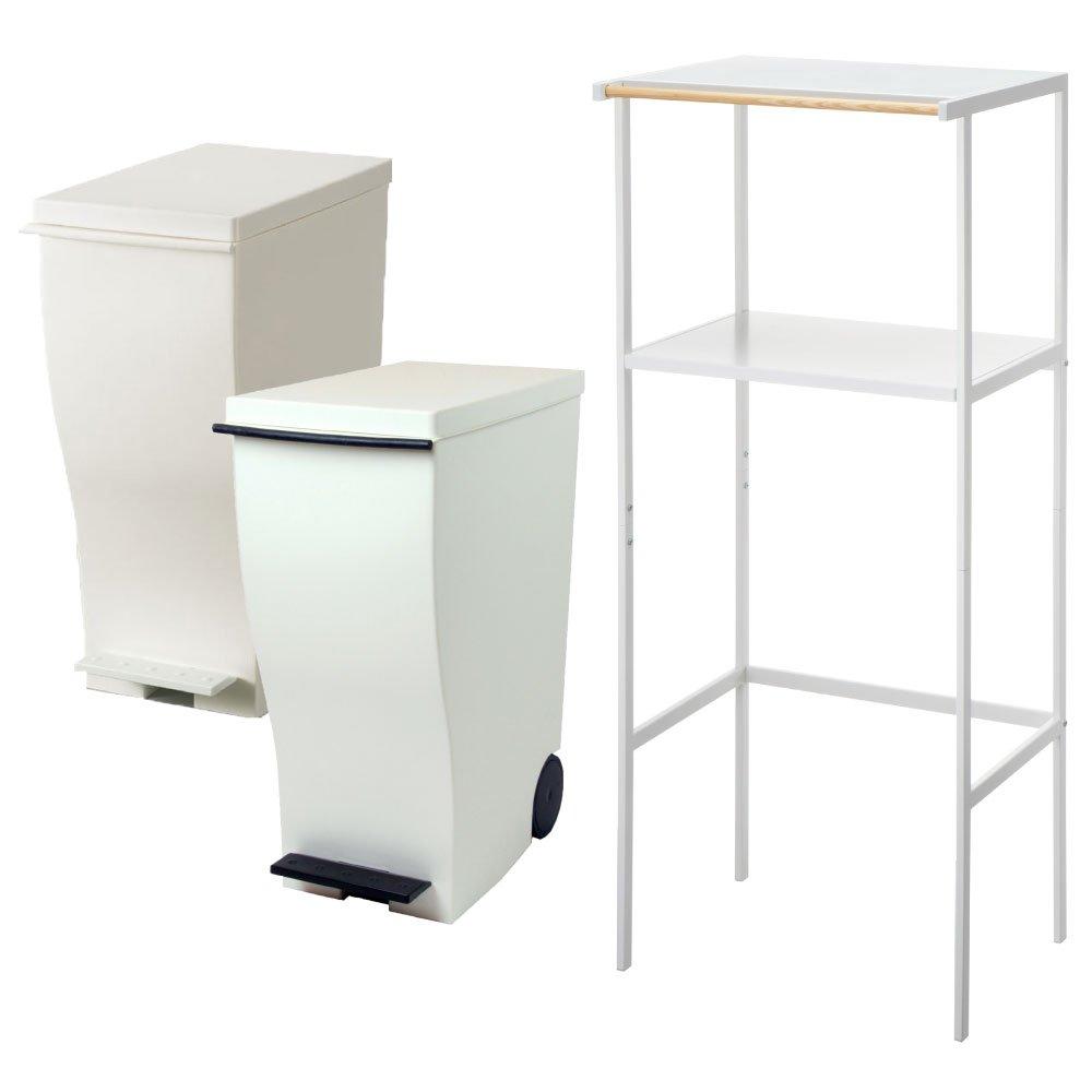 【3点セット】ゴミ箱上ラック tower ホワイト + kcud スリムペダル 30 2点セット ゴミ箱 ごみ箱 ダストボックス レンジ台 ゴミ箱ラック (ホワイト×ブラウン) B071LJF4VD ホワイト×ブラウン ホワイト×ブラウン