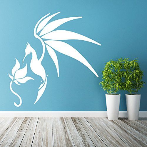 ( 46'' x 47'' ) Glowing Vinyl Wall Decal Bird with Flower / Glow in the Dark Art Decor Sticker / Fantasy Luminescent Mural Kids Room + Free Decal Gift!