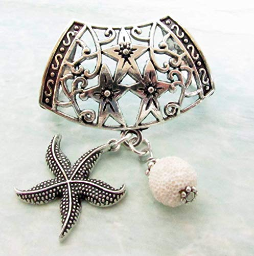 Scarf Pendant, Scarf Jewelry, Scarf Ornament, Scarf Accessories, Diffuser Jewelry, Starfish Scarf Slide, Birthday Gift for Her