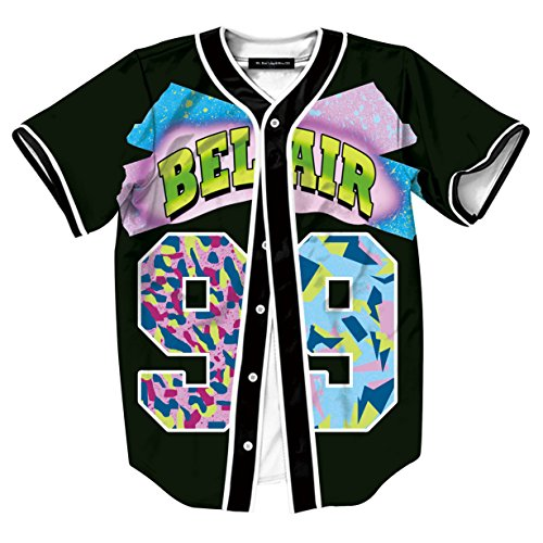 HOP FASHION Youth Unisex Boy Girl Baseball Jersey Short Sleeve 3D Number 99 Print Baseketball Dance Team Uniform Tees HOPM007-38-XL