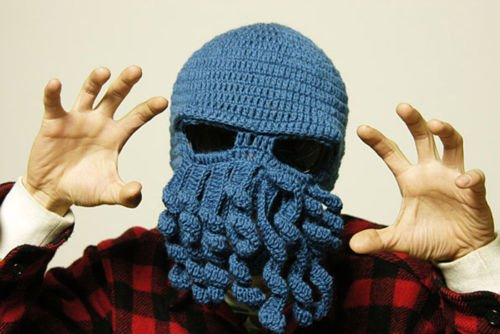 [Fashion Style Unisex Men Women Knit Wool Octopus Beanie Hat Cap Skiing Cycling Riding Costume Squid Mask Winter Wind Stopper Outdoor Sports Cosplay Balaclava Full Facemask Headwear] (Homemade Scary Clown Halloween Costumes)
