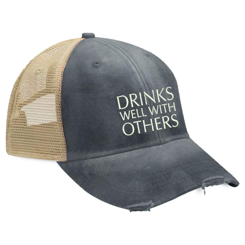 Piper Lou - Drinks Well with Others Trucker Hat with Snapback Enclosure - Navy