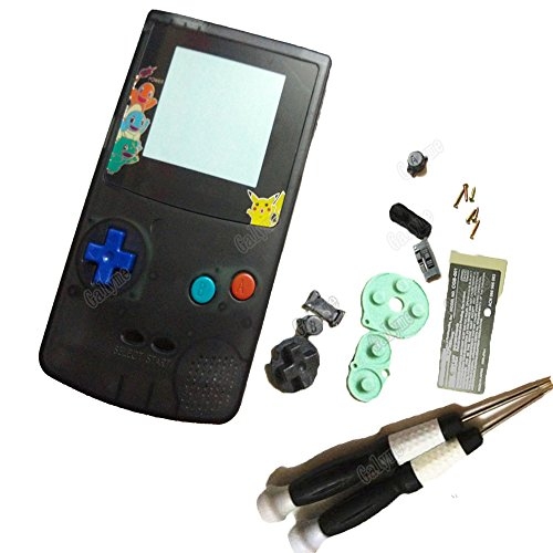 (New Full Clear Black Color Housing Shell Cover For Nintendo GBC GameBoy Color Repair Part Cover Shell w Limited Lens Color Buttons )