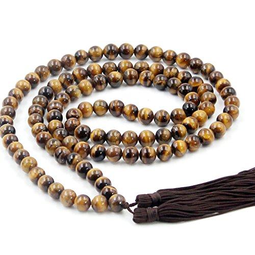 (OVALBUY Multiple Round 8mm Tiger Eye Gem Beads Rosary Prayer Meditation 108 Japa Mala)