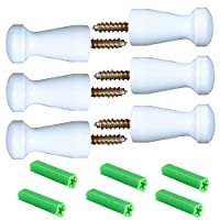 Maosifang 6 Pieces Solid Wood Wall-Mount Robe Hook Coat Hook Towel Wall Hook Shaker Pegs with 6 Pieces Self-Drilling Screw,White
