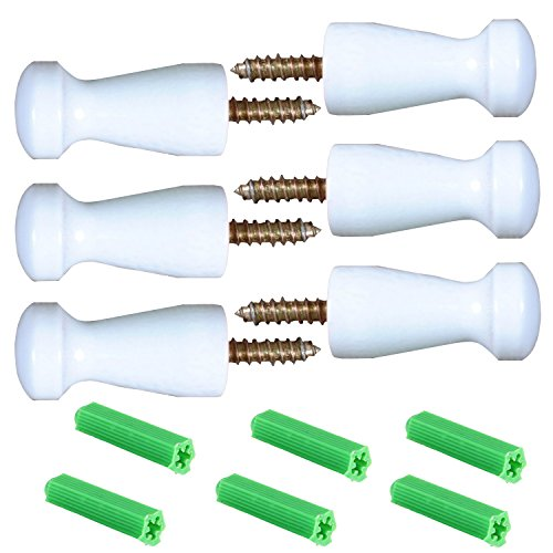 Shaker Hook - Maosifang 6 Pieces Solid Wood Wall-Mount Robe Hook Coat Hook Towel Wall Hook Shaker Pegs with 6 Pieces Self-Drilling Screw,White