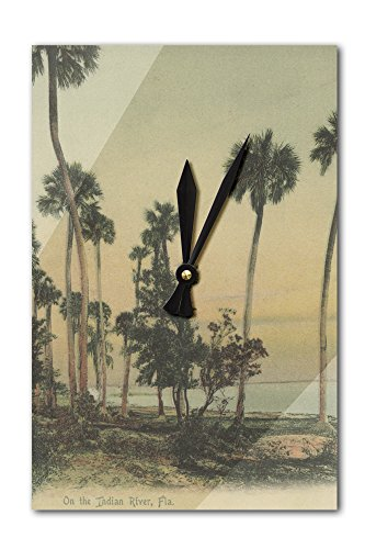 Shoreline view of Indian River with Palm Trees, Florida - Vintage Halftone (Acrylic Wall Clock)