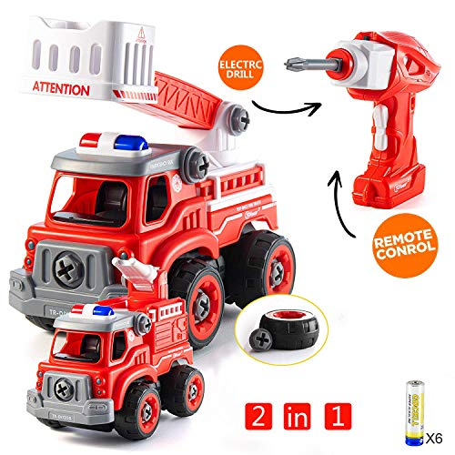 FREE TO FLY Take Apart Car Boy Toys - 2 in 1 Building DIY Fire Truck RC Remote Control with Electric Play Drill and Alarm Sounds,Ideal Educational STEM Toy Gift for Boys Girls Age 3 4 5 6 7 8 9 from FREE TO FLY