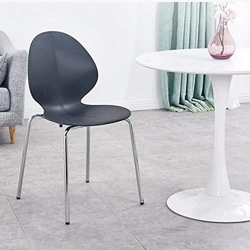 DALL Plast matstol stapelbar metall ben ryggstöd bordsstol modern kontor mötesrum mottagning stol montering (färg: svart)