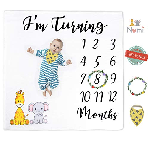 Nomi Baby Monthly Milestone Blanket for Boys and Girls | Soft and Thick Baby Blanket | 44 x 47 inch | Creates Adorable Milestones Pictures for Newborns | Organic Cotton Bib and Wreath Month Marker ()
