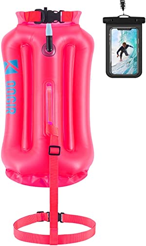 QOGIR Swim Buoy - Safety Float 28L with Adjustable Waist Belt Drybag, Be Bright, Be Seen for Triathletes Open Water Swimming, Safe Swim Training, Floating, Kayaking