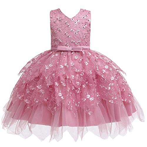 COMISARA Toddler Baby Girls Bridesmaid Dresses Little Kids Birthday Prom Pageant Wedding Party Performance Fancy Formal Princess Ball Gown Dress Size 18M (Bean Powder 90)