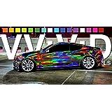 25 Meter Rolle 152 cm Breit VViViD Hologram Concept Folie Chrom-Schwarz Blasenfrei Autofolie Folieren