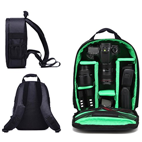 Perman Stylish Camera Backpack Waterproof Bag DSLR Case for Canon Nikon Sony and Most SLR Cameras (Green) ()
