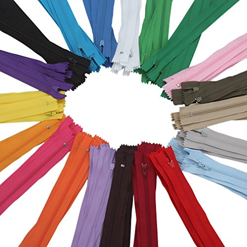Cocider 100 Pack 9In Nylon Invisible Zipper Assorted Color Closed for Clothes Sewing Craft,Nylon Coil Zippers Tailor