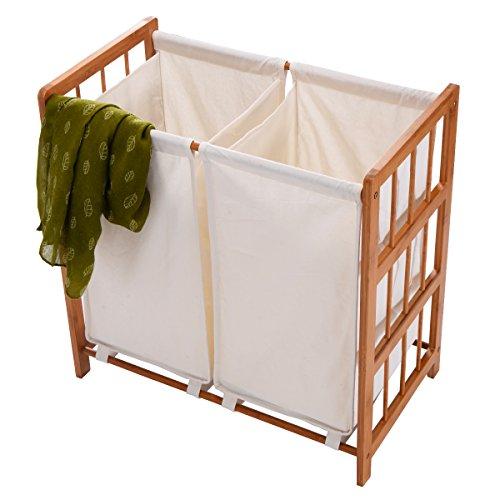 NEW Household Bamboo Frame Laundry Sorter Hamper Clothes Storage Basket Bin w/ Bag