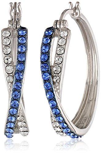 Sterling Silver Sapphire Blue and White Crossover Hoop Earrings Made with Swarovski Crystal (1 diameter)